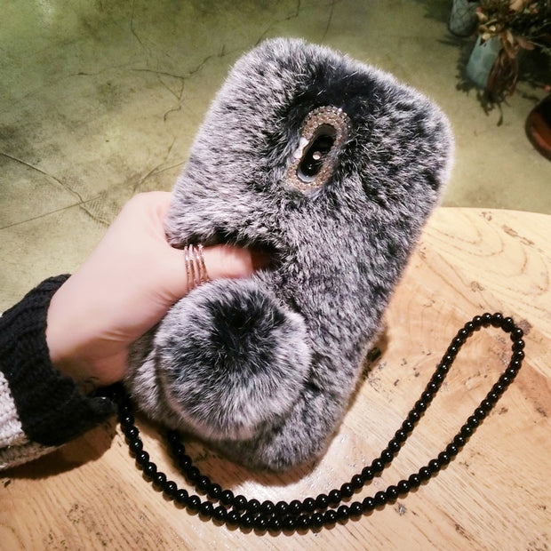 Dower Me Fashion Soft Real Rex Rabbit Fur Case Cover With Fur Ball Tail For Samsung Galaxy Note 9 8 5 4 3 S9/8/7/6 Edge Plus