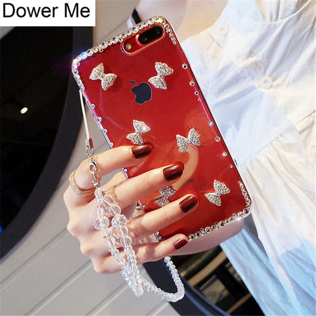 Dower Me Luxury Fashion DIY Bling Cute Crystal Diamond Bowknot Phone Case Cover For Iphone X 8 7 6 6S Plus 5 5S SE Silver