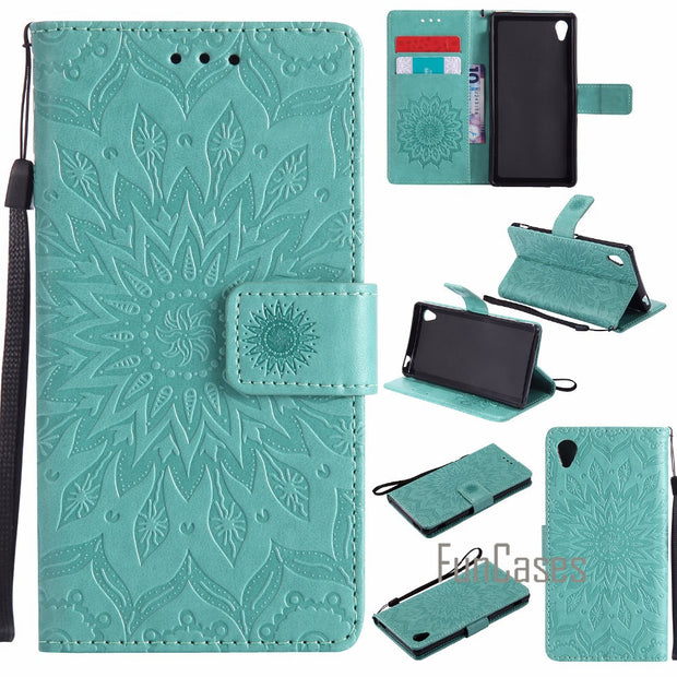 "Embossed Flower Case SFor Coque Sony Xperia M4 Aqua Case SFor Fundas Cover Sony M4 Aqua Case E2306 E2333 E2353 5"" + Card Holders"