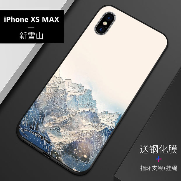 Embossed Vintage East Asian Chinese Japanese Style Case For Iphone XS MAX XS Snow Mountain Decree Crane Cover XS