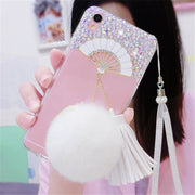 Fan Luxury Glitter Bling Rhinestone Phone Case Soft Tassels Fur Ball Back Cover For Iphone X 4 4S 5S 5C 6 6S PLUS 7 7 PLUS 8PLUS