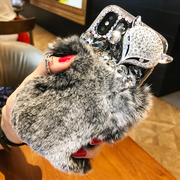 Fancy Crystal Stones Furry Rhinestone Fox Cell Phone Case Cover For Huawei P10 P20 Lite Plus 2017 Mate 9 10 Pro
