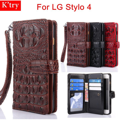 For LG Stylo 4 Case 3D Crocodile Snake Leather Flip Wallet Cases For Lg Stylo4 Fundas With Wrist Strap Stand Wallet Capa
