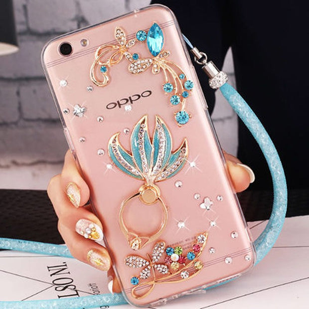 For OnePlus 5T/6 Bling Glitter Diamond OnePlus 5 Phone Case+Crystal Rhinestone Cases Cover For OnePlus 2 3T 3 Cases A3000 A5000