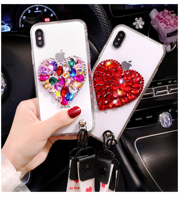 For Samsung S5 S6 S7 Edge S8 S9 Plus Capa Glitter Diamond Luxury Case For Samsung Note9 8 5 4 Slim Crystal Clear Love Soft Cover