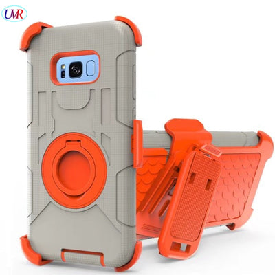 For Samsung S8 Case Shockproof Hybrid Hard Rubber Armor Phone Case For Galaxy S8 Finger Ring Clip Kickstand Cover