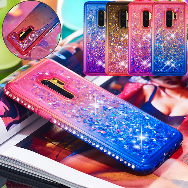 For Samsung S8 S9+Note 9 J3 J5 J7 A5 A6+Case Diamond Jewelled Bling Liquid Quicksand TPU Shockproof Rhinestone Cover Coque Funda