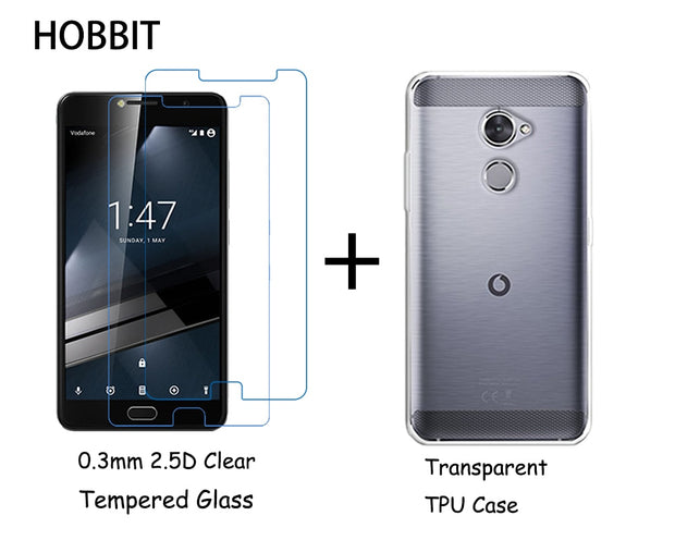 the best attitude 75581 c39e6 For Vodafone V8 E8 N8 White Clear TPU Back Cover Case 0.3m 2.5D Full  Coverage Tempered Glass Screen Protector For Vodafone N8