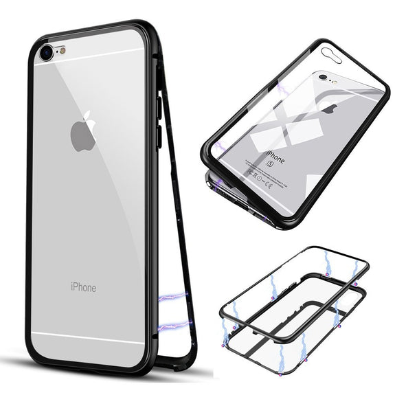 For Iphone 6 6plus Magnetic Adsorption Phone Case Metal Frame Cover Te
