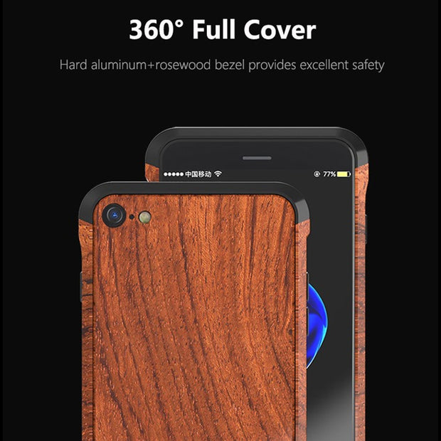 For IPhone 7 Case Cover Luxury Hard Metal Aluminum Natural Wood Hybrid Protective Armor Phone Case For IPhone 8 Back Cover Funda