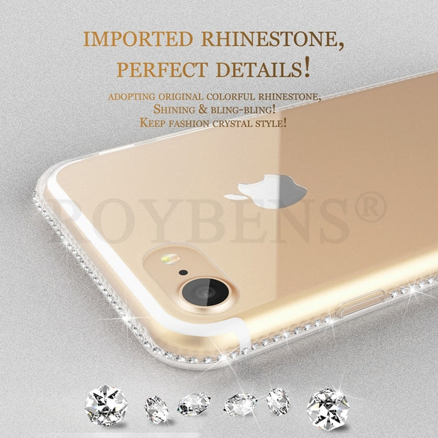 For IPhone 7 Case Roybens Luxury Diamond Soft Silicone Transparent Case For IPhone 7 8 Plus Clear Ultra Slim TPU Phone Cover