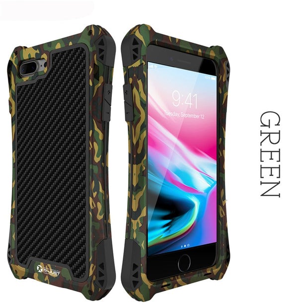 For IPhone 8 Case IPhone 8 Plus Cover Case Carbon Fiber Aluminum Metal Armor Phone Case For IPhone 7 6 6s Plus 5s Se X