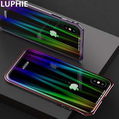 For IPhone X Case Cover Luxury Hard Magnetic Metal Aluminum Alloy Transparent Glass Protect Phone Case For IPhone 10 Back Cover