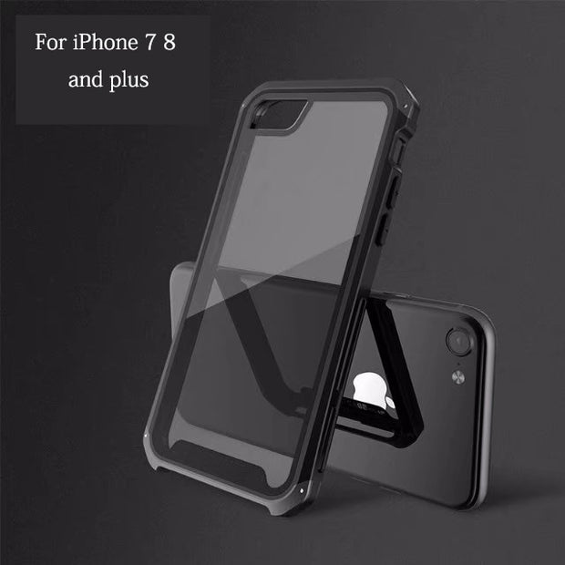 For IPhone XR Case Tempered Glass Transparent Men's Metal Phone Case For IPhone X XS Max For IPhone 8 7 Plus Glass Case Cover