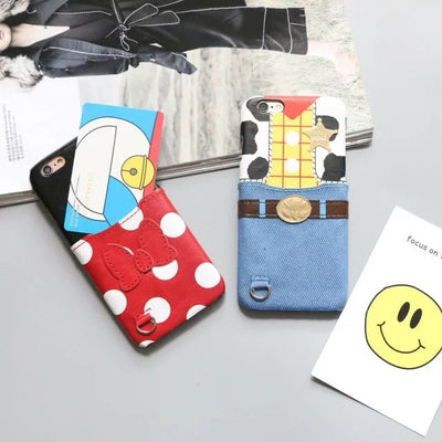 For IPhone XS Max XR X Toy Story Alien Woody Monsters Mickey Minnie Pouch Pocket Card Leather Case For IPhone 8 6 6S 7 Plus