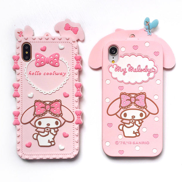 promo code 9fa77 33847 For IPhoneXS Max Cute 3D Melody Phone Cases For Iphone X XS XR 5678plus My  Melody Bow Cartoon Capa Soft Silicone Case +strap
