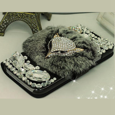 Fox Fur Flip Leather Diamond Phone Case For Sony Xperia XA1 Plus XA2 Ultra XZ2 Compact Diamond Wallet Stand Pouch Leather Bag