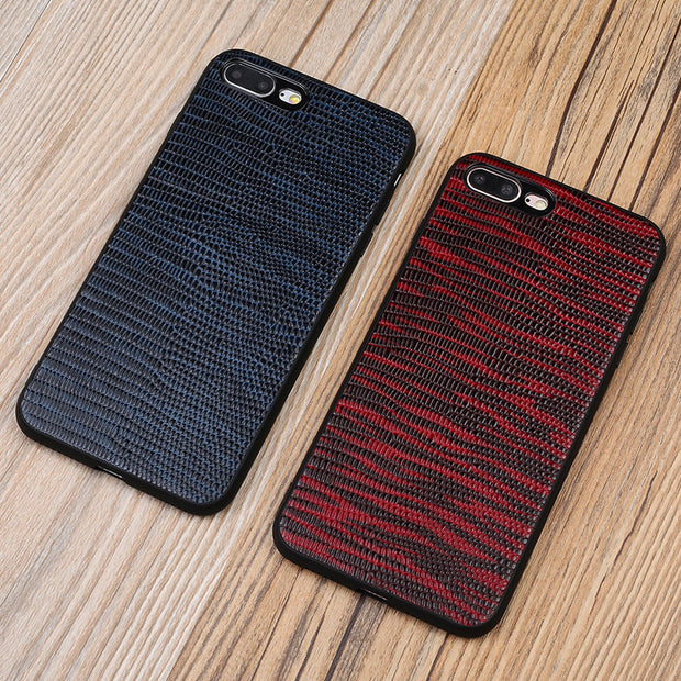 Genuine Leather Phone Case For IPhone 7P Case Lizard Skin Texture Back Cover For 6 6S 7 8 Plus X 5 5S SE Cases