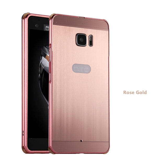 HQ Brushed PC Back Cover Metal Frame For HTC U11 U Ultra Play Life U12+Metal Phone Case Desire 12 10 U11 Plus Anti-fall Case