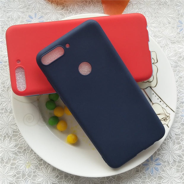 High Quality Candy Full Cover Case For Huawei Y7 Prime 2018 5.99'' Macarons Color Soft TPU Case