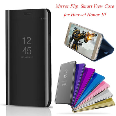 Honor10 Smart Flip Stand Mirror Case For Huawei Honor 10 Case Clear View PU Leather Cover For Huawei Honor 10 Case Cover