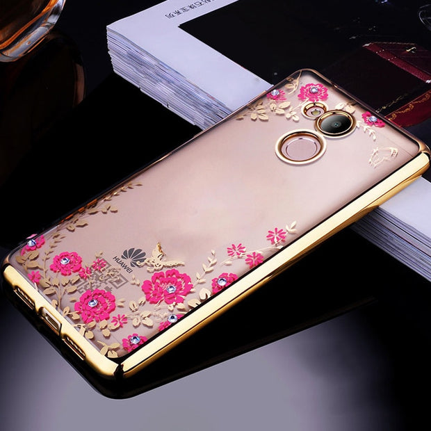 Huawei Honor 6C Pro Case Cover Bling Glitter Flower Diamond Soft TPU Silicone Phone Back Shell SFor Honor 6 C Cases Funda Coques