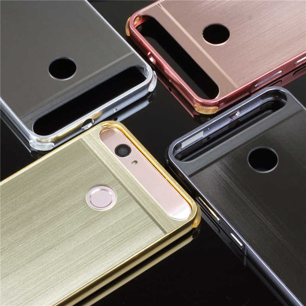 "Huawei Nova CAN-L11 Case Mirror Plating Metal Frame Cover With Brushed Back Cover Hard Case For Huawei Nova 5.0"" Shell Protector"