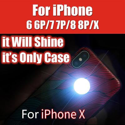 """It Will Shine"" Have Back Logo Shine Lamp For IPhone 6S 6 Plus 7 8Plus IPhone X XS Max XR Glowing Self Shining Case TPU Silicone"