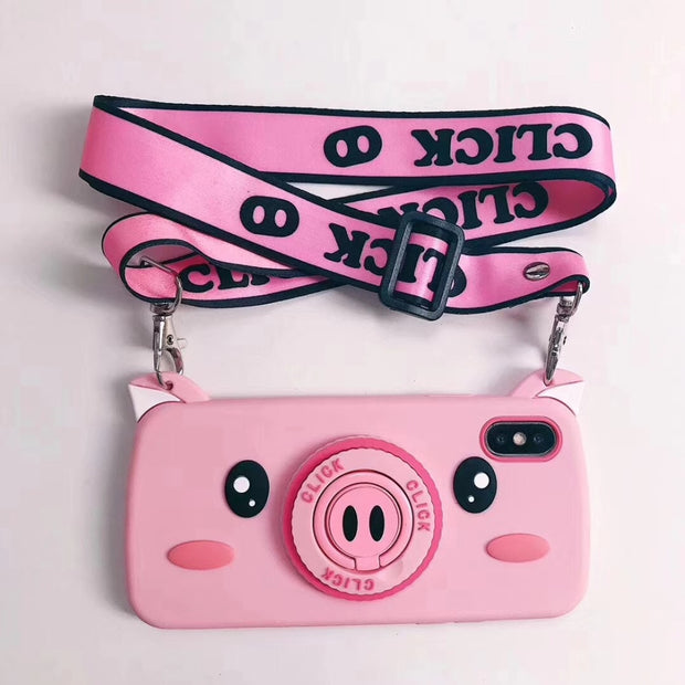 KASNOPAI Cartoon Pig Case For Iphone X 7 8 6 6S Plus Phone Case Soft Silicone Back Cover Coque With Ring Holder Long Lanyard