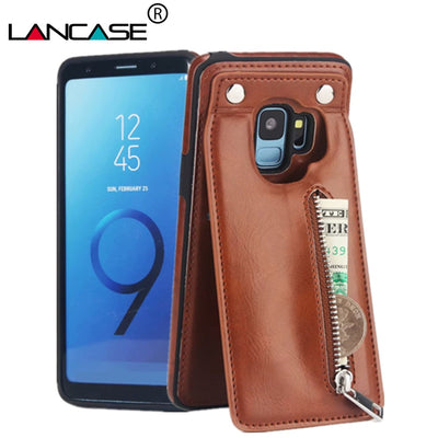 LANCASE Wallet Case For Samsung S9 Case Luxury Leather Card Slots Zipper Handbag Cover For Galaxy S9 Plus Business Case Magnetic