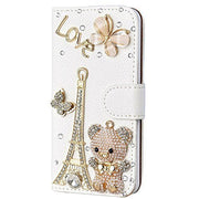 LaMaDiaa Bling Handmade Glitter Rhinestone Pearl Leather Flip Wallet Protective Case For Iphone For SamsungS3 S4 S5 S6 S7 S8 N5