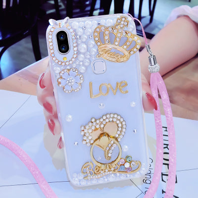 LaMaDiaa For IPhone X XR XS MAX 6 6S 6Plus 7 8 Plus Cute Flower Finger Ring Buckle Diamond Bling Glitter Phone Cover Case Strap