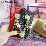 LaMaDiaa Luxury Bling Diamond Rhinestone Chain Phone Case For Iphone 7 7plus 6 6s 6plus 8 X Gem Bracelet Hard PC Back Cover