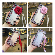 LaMaDiaa Luxury Bling Rhinestone Crystal Diamond Flower Soft Back Phone Case Cover For IPhone X XR XS MAX 7 8 Plus 6 6SPlus 5S