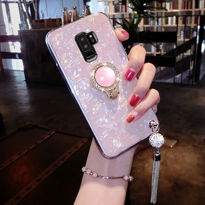 Lexury Jewelled Finger Ring Rhinestone Phone Case For Samsung S8 Plus Kickstand Phone Cover With Phone Strap For Samsung S8 Plus