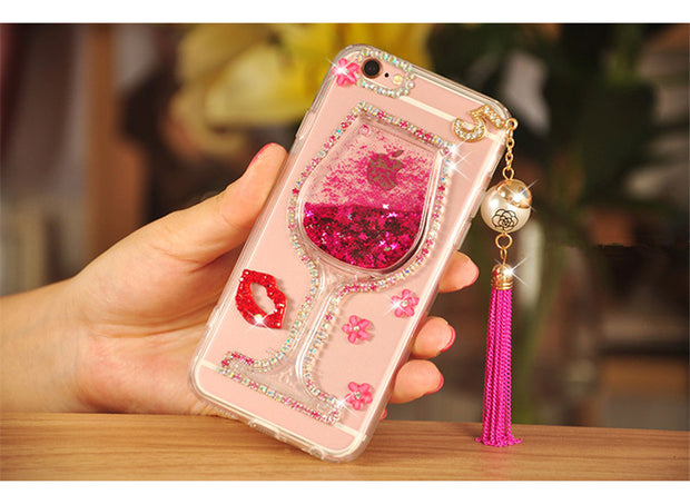 Liquid Quicksand Transparent Lady Red Wine Glass Soft Case For Xiaomi 5 5s Plus 5X 6 Max MIX 2 3 For Redmi Note3 4 4X 5A Prime