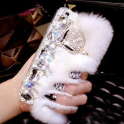 Luxury Big Rhinestone Diamond Real Rabbit Fur Hard Cover Case For Iphone X XS MAX XR 4S 5S 6 6S PLUS 7 8 Plus Bling Case