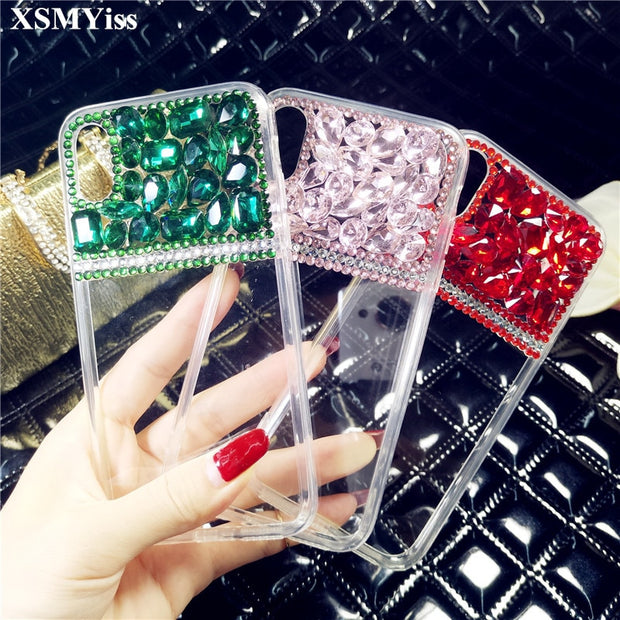 Luxury Bling Crystal Diamond Bow Tie Clear Back Rhinestone Phone Case Cover For Xiaomi 5 5s Plus 5X 6 Max MIX 2 3 Redmi Note4