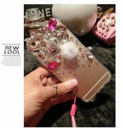 Luxury Bling Crystal Rhinestone Diamond Fox Fur Hair TPU Back Case For IPhone Xs Max 5s 5C 6 6s Plus 7 8 Plus With Lanyard