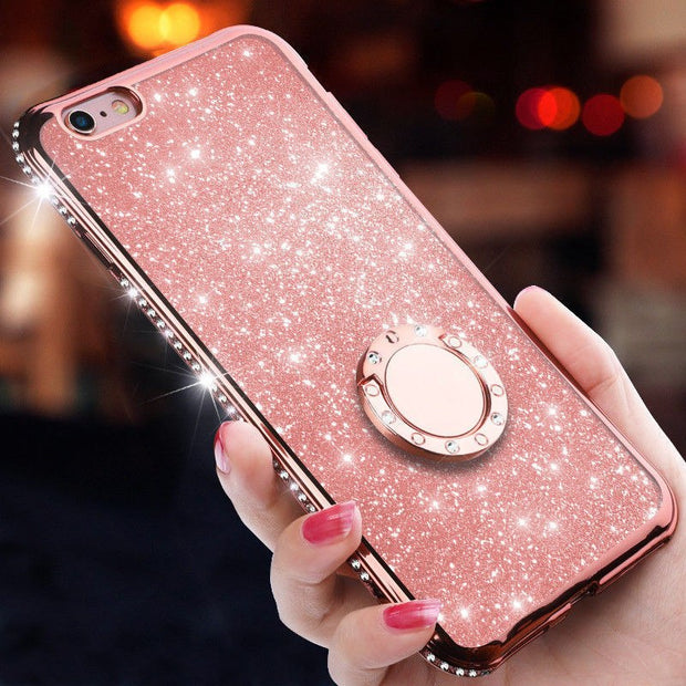 Luxury Bling Diamond Ring Holder Stand Phone Case Cover For IPhone X Xs Max XR