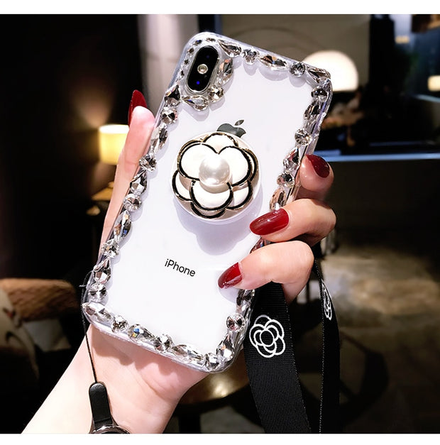 Luxury Capa Bling Small Flower Airbag Bracket Rhinestone Crystal Clear Soft Case Cover For Iphone 5S 6 6S 7 8 PLUS X XS MAX XR