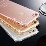 Luxury Crystal Diamond Bling Gel Transparent Phonecase Cover For IPhone X XR XS Max 8 7 6 S 6S Plus 5 5S SE I Phone Coque Cases