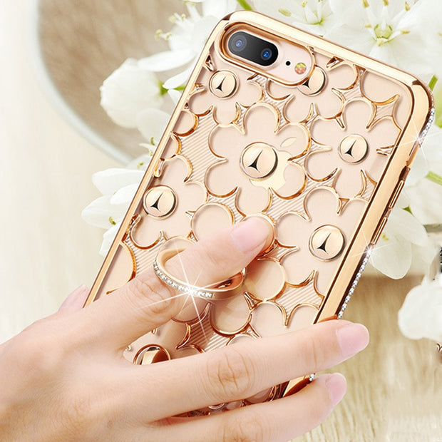 Luxury Diamond Daisy Soft Case For IPhone X Silicone Back Cover Flower For IPhone 6s 6 7 8 Plus 10 Ring Holder