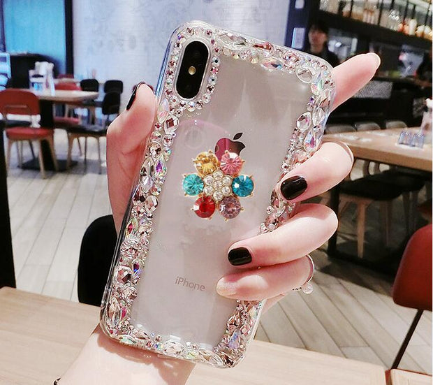 Luxury Fashion Funds Capa Bling Diamond Flower Rhinestone Clear Soft Case Cover For Redmi4X 4A 5A 5PLUS NOTE3 4 4X 5A 6Pro Coque