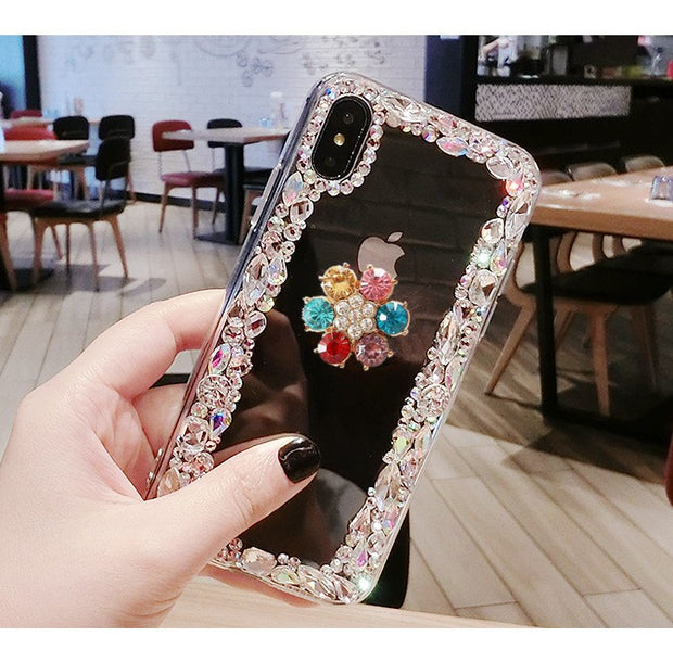 Luxury Fashion Funds Capa Bling Diamond Flower Rhinestone Clear Soft Case Cover For SamsungS5 S6 S7 S8 S9 Note9 8 5 4 Coque
