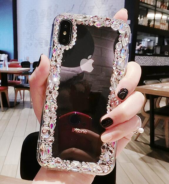Luxury Fashion Funds Capa Bling Diamond Rhinestone Crystal Clear Soft Case Cover For IPhoneX XS MAX XR 8 7 6 Plus 5S Coque