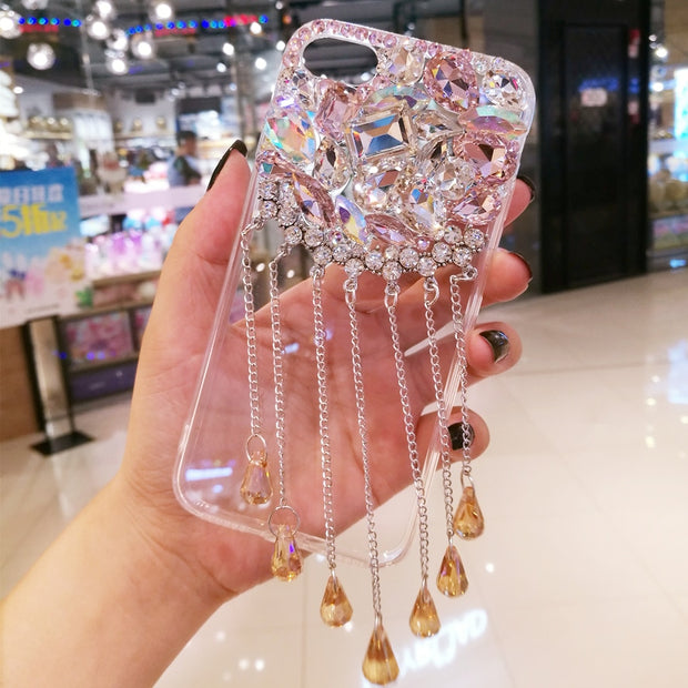 Luxury Glitter Pendant Phone Cases For SamsungS6 S7EDGE S8 S9 PLUS Back Cover Bling Rhinestone Case For Samsung NOTE5 N8 N9 Capa