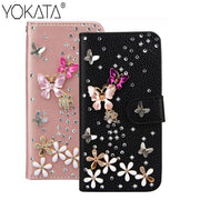 Luxury PU Leather Flip Case For Samsung Galaxy A3 A5 J3 J5 J7 2016 2017 S7 Edge S8 Plus Case Bling 3D Diamond Butterfly Floral