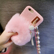 Luxury Rhinestone Hang Rope Silica Gel Set Of Real Rex Rabbit Hair Fur Plush Soft Leather Case For IPhone X 6 6Plus 7 8 8Plus