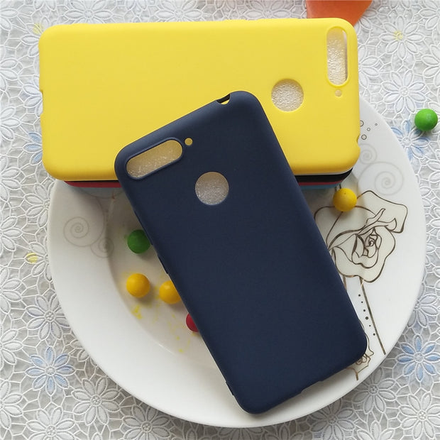 Macarons Color TPU Silicone Frosted Matte Case For Huawei Y6 Prime 2018 5.7 Inch Simple Solid Color Soft TPU Cases